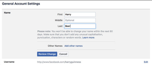 I want to change my Facebook name