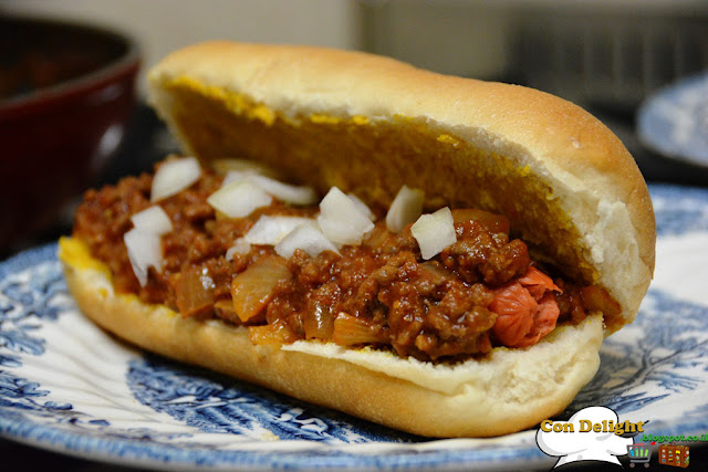 chili hot dog in a bun