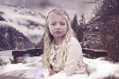 tyttö, suru, talvi, surullinen