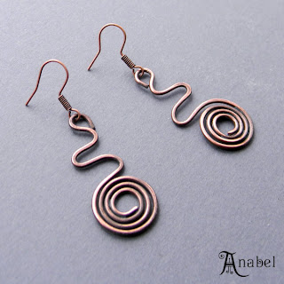 медные этнические сережки купить спиральные Купить авторские украшения ручной работы онлайн.