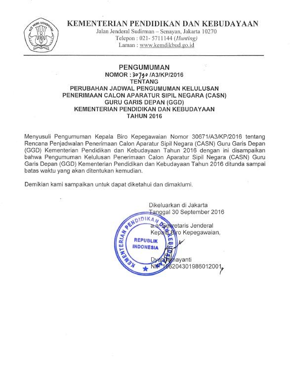 Perubahan Jadwal Pengumuman Kelulusan CASN GGD Kemdikbud Tahun 2016