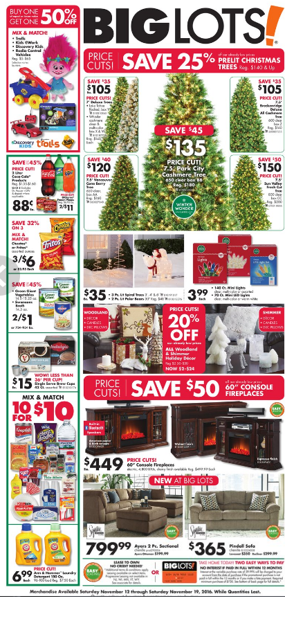 Browse the latest Big Lots Ad, valid November 25 – November 26, Don't miss the Big Lots Sales and save with the retailer promo codes, coupons, clearance deals, and weekly specials from this week Ad .