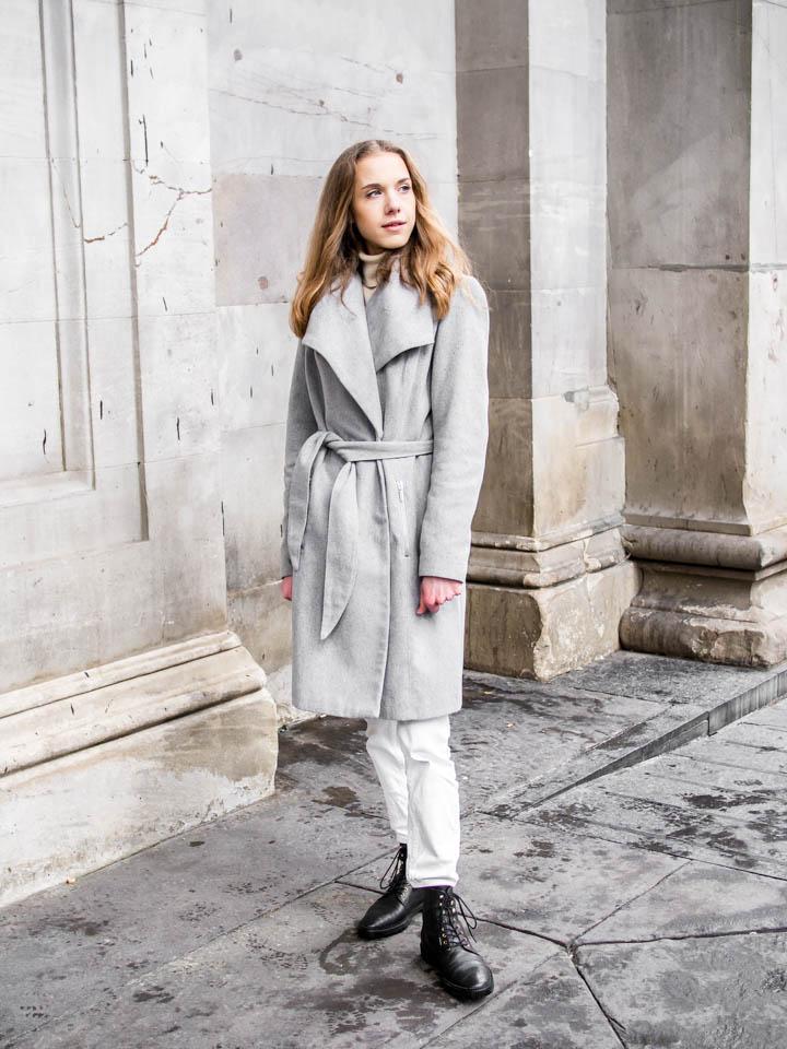 How to style grey wrap wool coat - Kuinka pukea harmaa villakangastakki