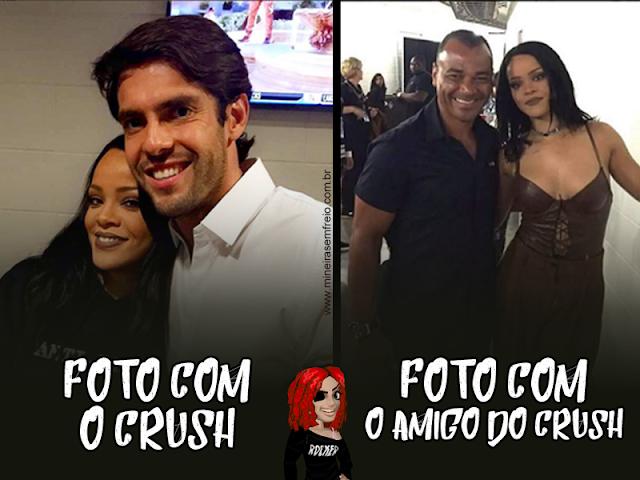 meme foto Rihanna com Kaká e Cafu. Blog Mineira sem Freio