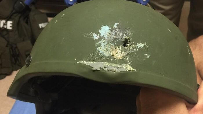 15 Reasons Why Wearing A Helmet Is Always A Good Idea - Orlando Police Shared This Photo On Twitter Showing Where A Bullet Struck An Officer's Helmet. The Officer's Life Was Saved Because Of The Helmet