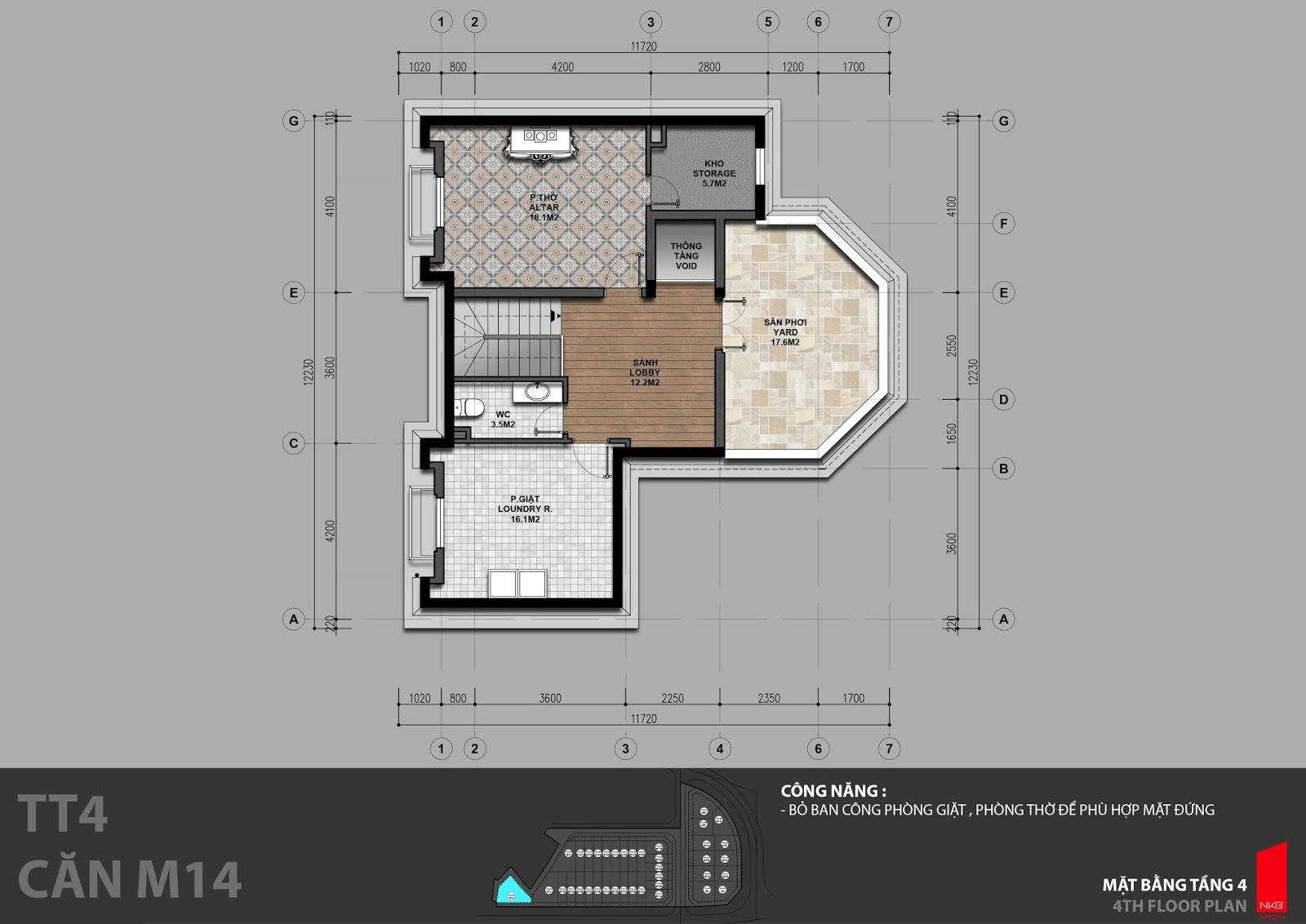 Mặt bằng tầng 4 biệt thự đơn lập