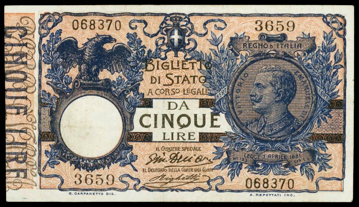 Italy 5 Lire Banknote 1915 Biglietti Di Stato World