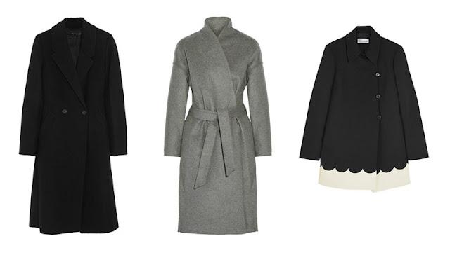 Черное приталенное пальто, серое пальто-кимоно и черно-белое пальто трапеция