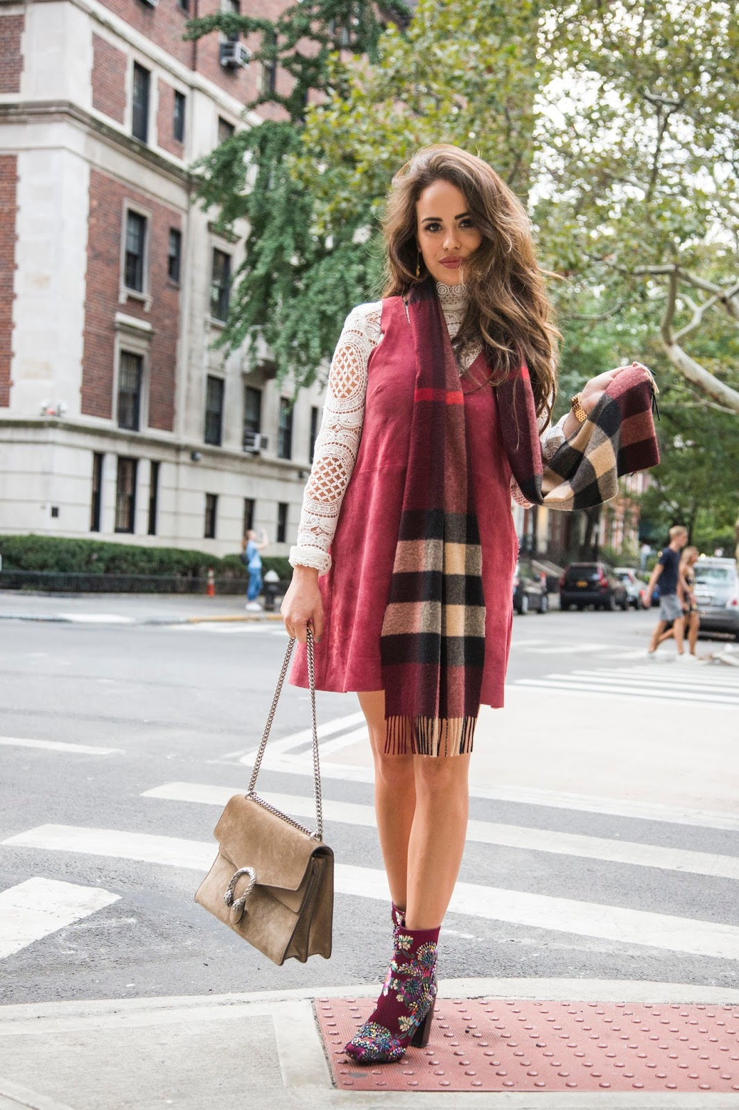 Suede dress by free people, nyc fall fashion, how to dress for nyc in the fall, nyc top bloggers, nyc blogger, cute outfits for fall, cute looks for fall, how to dress cute in cold weather, fall fashion, blogger fall fashion, blogger style, nyc fashion, suede dress, gucci dionysus, burberry scarf, how to style a burberry scarf, creative fall looks, white lace top, anthropologie white lace top, fall in nyc, cute fall fashion ideas, nyc fashion blogger, elle harper, elle harper blog, elle harper in nyc