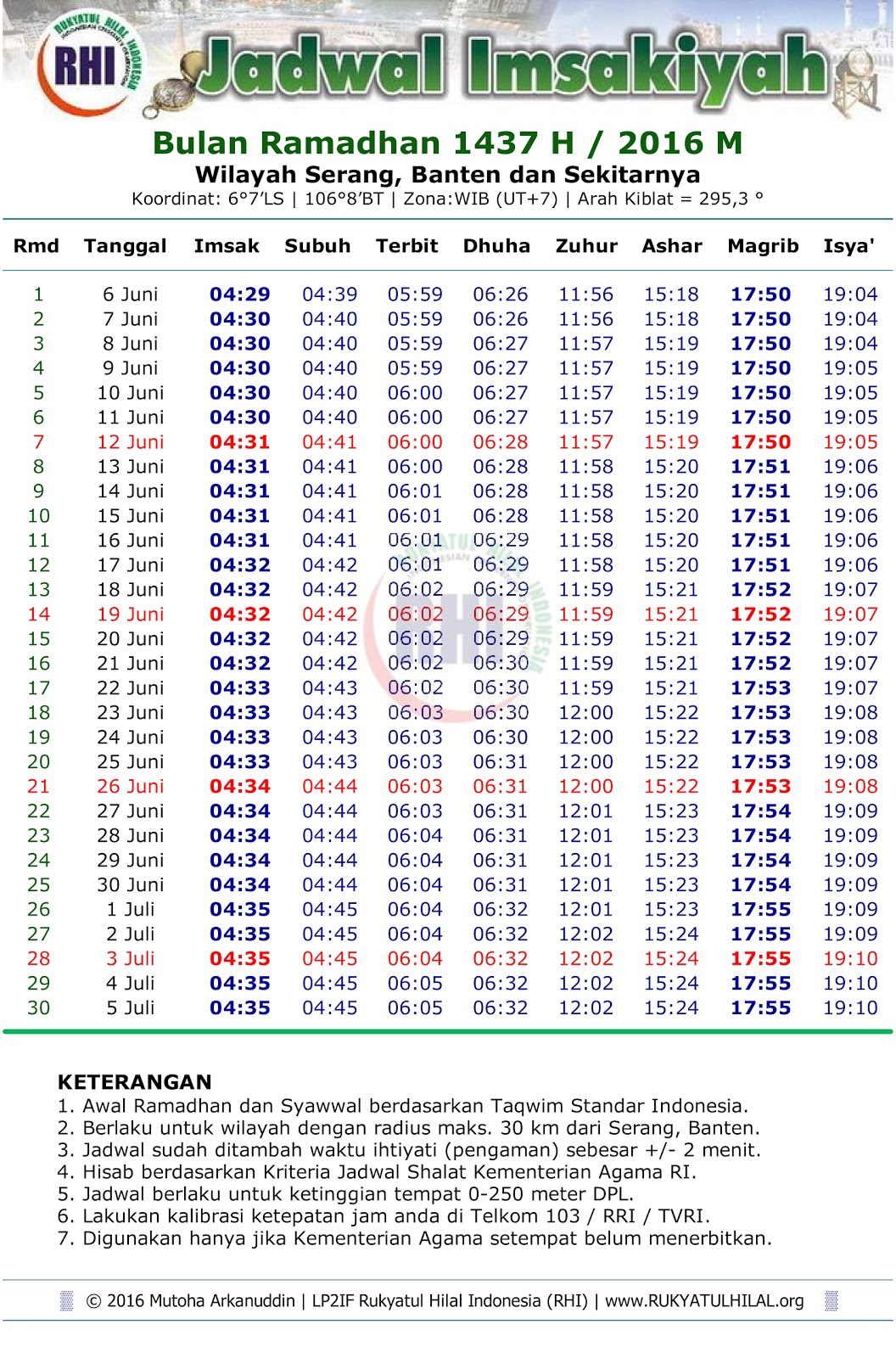 [Info] Jadwal Imsakiyah Ramadhan 1434 H / 2013 M Wilayah Serang, Banten dan Sekitarnya
