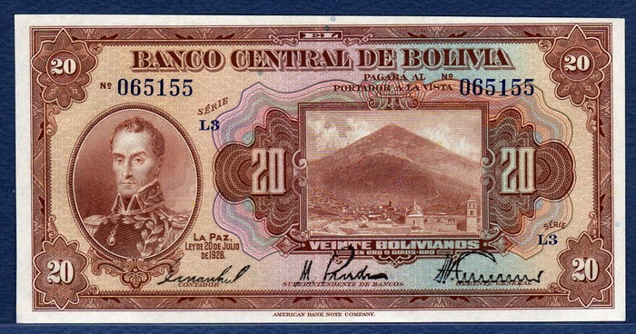 Bolivian Currency 20 Bolivianos Dated 1928 World