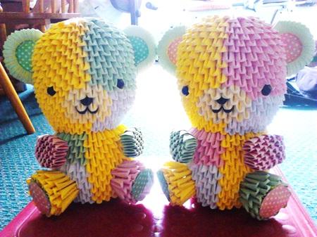 Jewellia handicrafts: 3D origami patchwork teddy bear