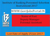 Institute OF Banking Personnel Selection Recruitment 2017 – Deputy Manager & Personal Assistant