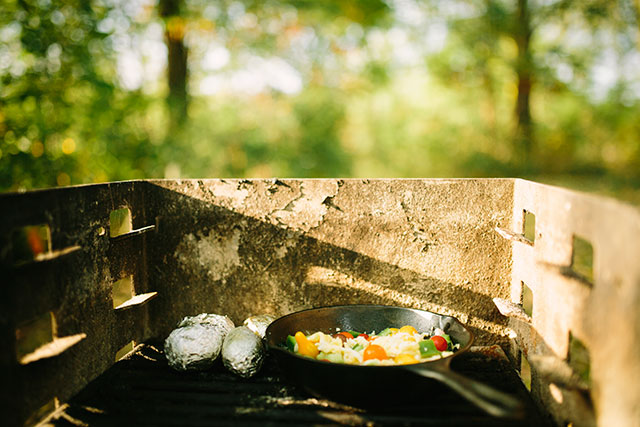 Eggs and potatoes on the grill - Photography by Jessica Holleque