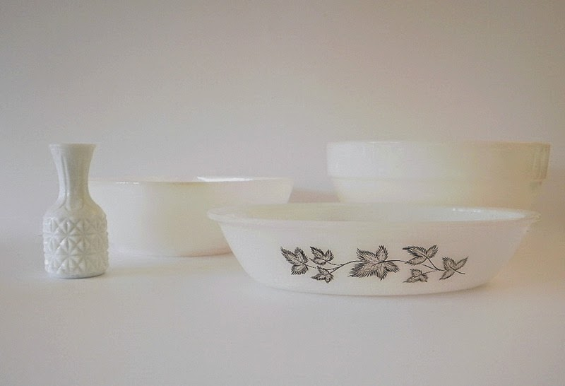 Agee Pyrex bowl and casserole dish with Anchor Hocking colonial bowl  and milk glass vase