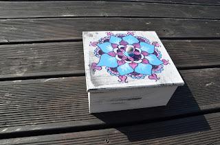 drewno szkatułka herbaciarka mandala hand made
