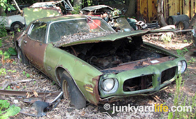 Cars were locked up in 1975 at a Pennsylvania junkyard.
