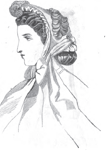 Fanchon bonnet, June 1865, Peterson's Magazine.
