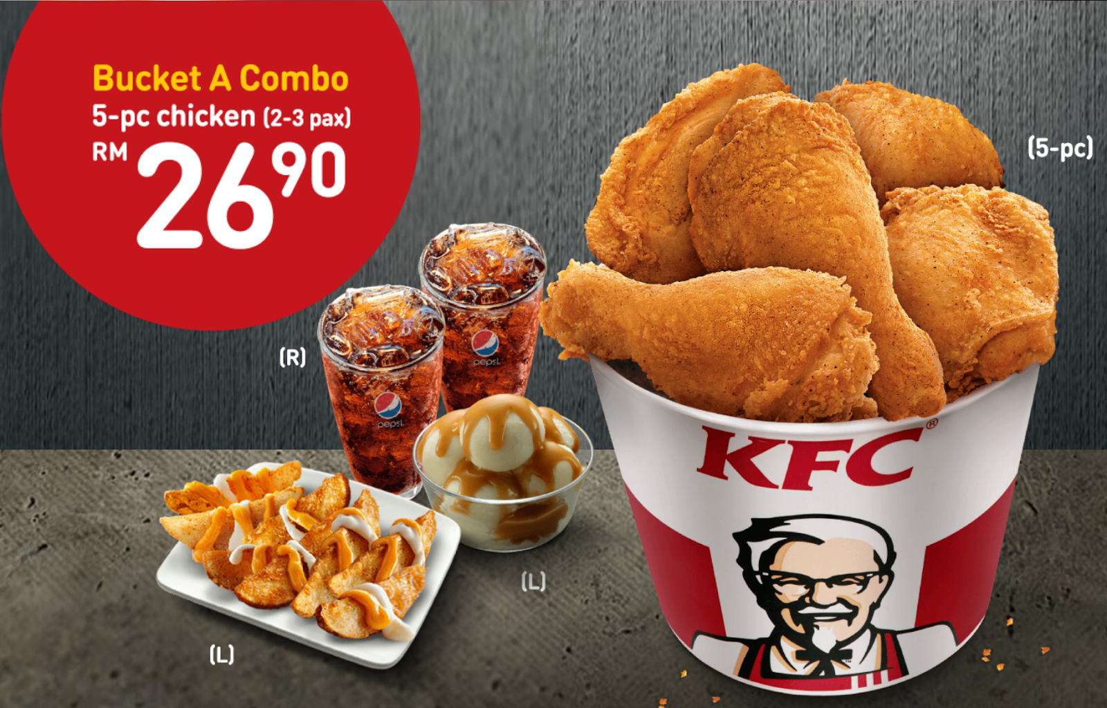 KFC Bucket Berbaloi RM26.90 Value Combo Set With 5-pc ...