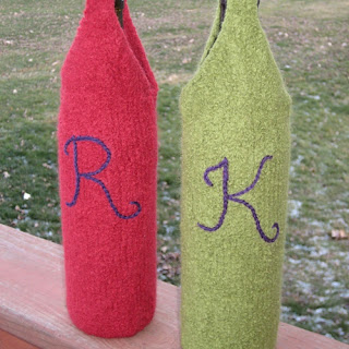 handmade felted wine bottle totes