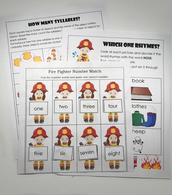 FREE Fire Safety Worksheets for preschool and kindergarten perfect for fire prevention week. Fun activities for kids to work on syllables, rhyming words, cut and paste activities, and more!