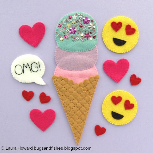 felt ice cream, heart-eye emojis, hearts, and OMG speech bubble