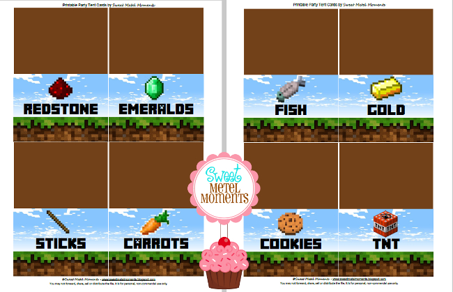 Sweet Metel Moments Brodys Minecraft Party Free Printable Part 1