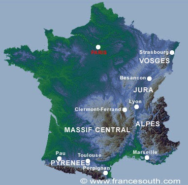 Map Of France Mountains.Columbia College Travelers Mountains Of France