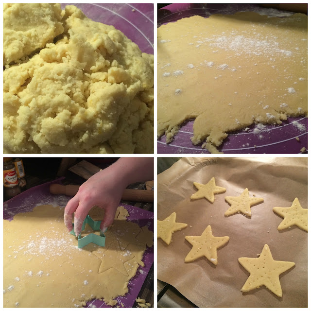 Photos of the steps for Cutting out the Biscuits