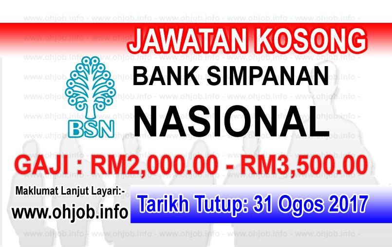 Jawatan Kerja Kosong Bank Simpanan Nasional - BSN logo www.ohjob.info ogos 2017