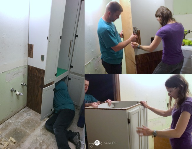 Removing old bathroom cabinets