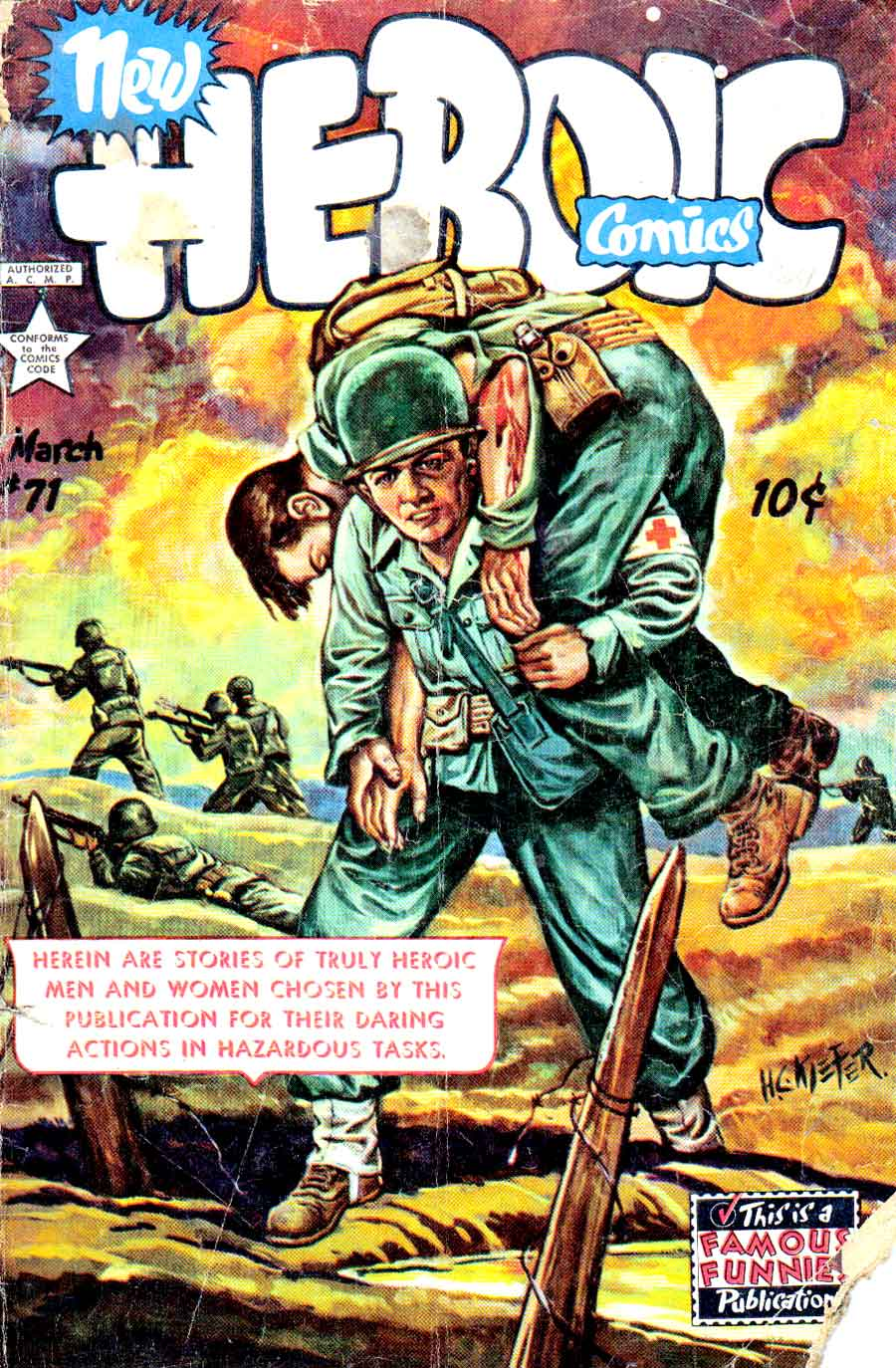 Heroic Comics #71 golden age 1950s war comic book cover