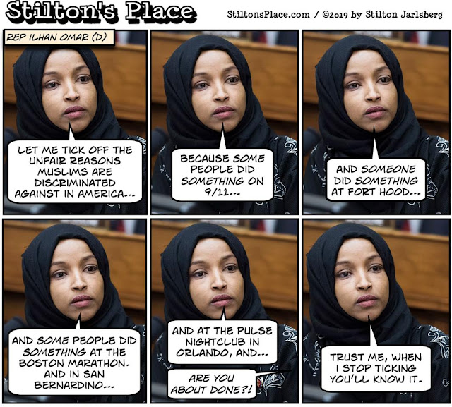 stilton's place, stilton, political, humor, conservative, cartoons, jokes, hope n' change, ilhan omar, 9/11, islamic terror, fort hood, san bernardino, boston marathon, pulse nightclub, terror