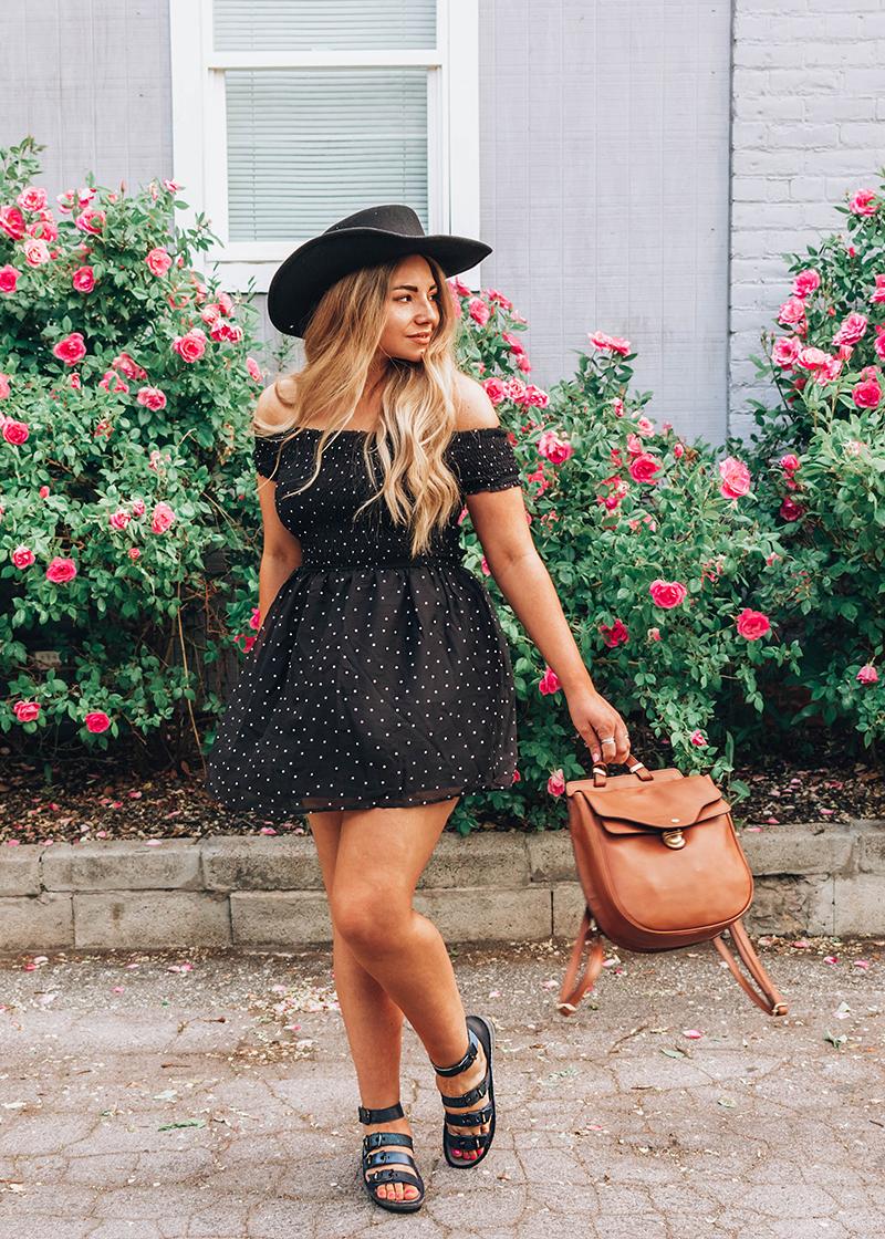 girl in polka dot skater dress, polka dot clothing, skater dress