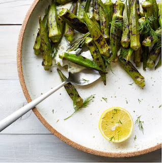 http://www.foodandwine.com/recipes/blistered-okra-dill-coriander-lebneh