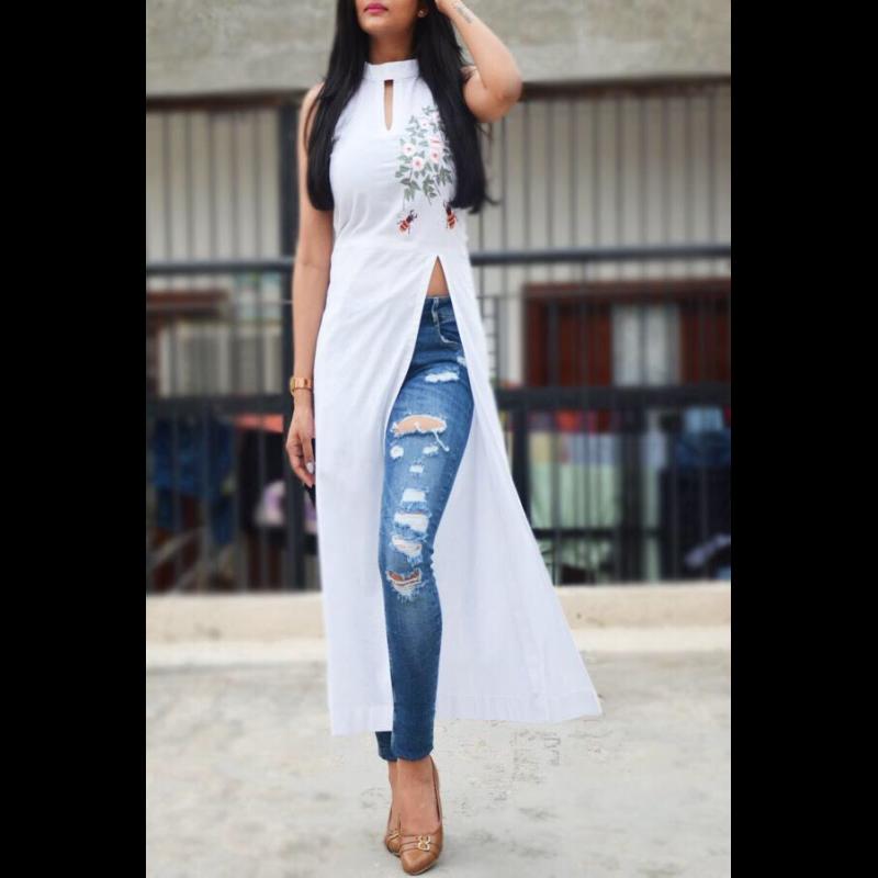 Side Slit Kurti With Jeans