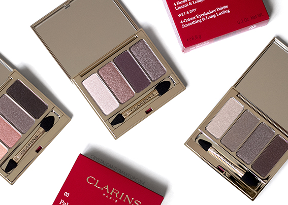 Clarins Fall 2016 4-Colour Eyeshadow Palettes 01 Nude 02 Rosewood 03 Brown Review Swatches