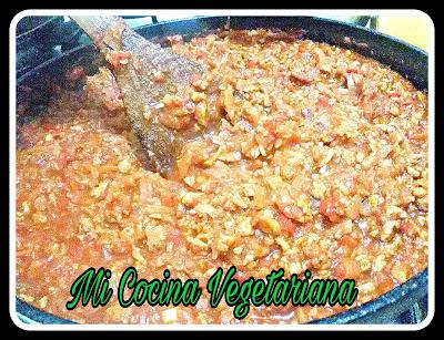 Receta de boloñesa vegetariana económica de mi cocina vegetariana en Triana, Sevilla