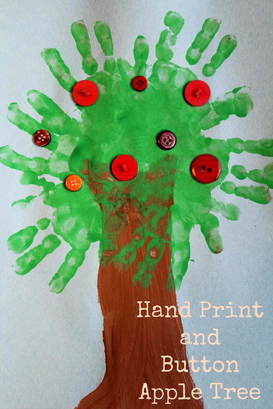 Moments Of Mommyhood Hand Print And Button Apple Tree