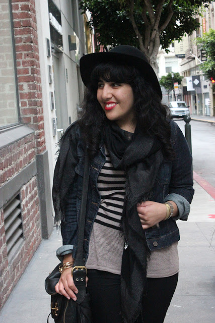 Fall Wool Hat and Denim Jacket SF Outfit