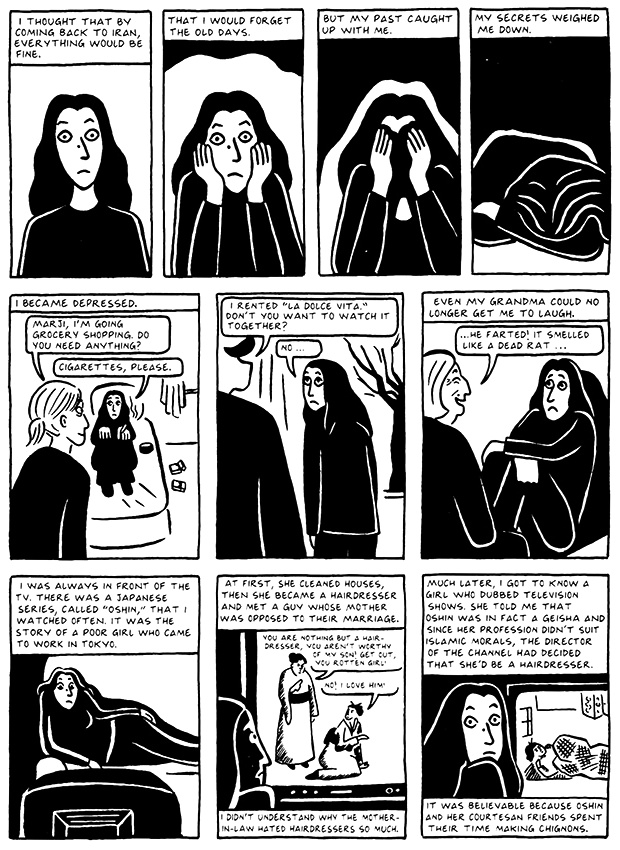 Read Chapter 12 - Skiing, page 114, from Marjane Satrapi's Persepolis 2 - The Story of a Return