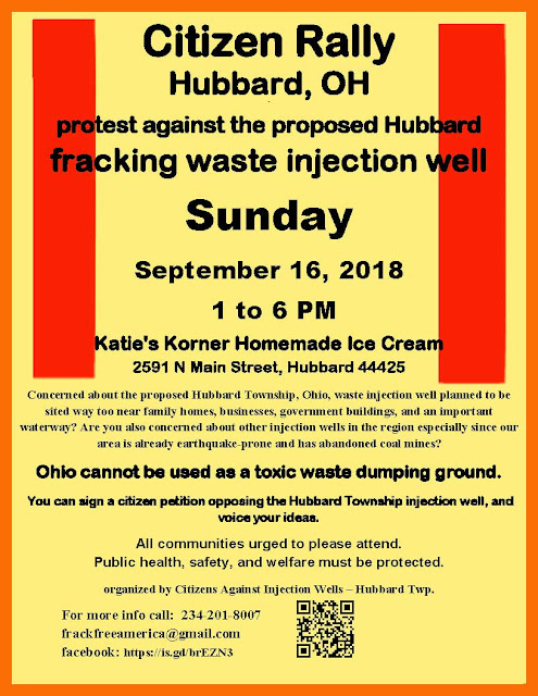 poster for Citizens Against Injection Wells – Hubbard Twp. is holding an open-to-the-public, anti-injection well protest/rally on Sunday, September 16, 2018