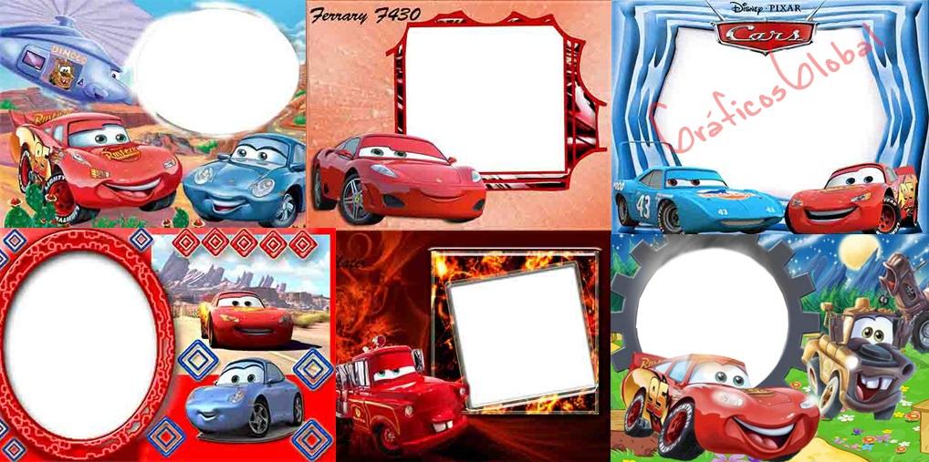 9 Marcos autos cartoons plantillas psd