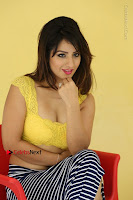 Cute Telugu Actress Shunaya Solanki High Definition Spicy Pos in Yellow Top and Skirt  0453.JPG