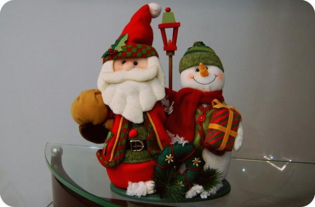 Decoração Natalina Enfeites de Natal Papai Noel e Boneco de Neve