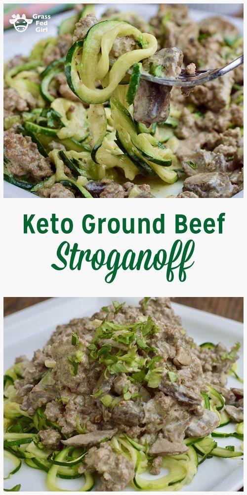 Keto Ground Beef Stroganoff with Zucchini Noodles