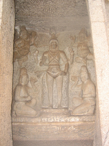 Subrahmanya Swami  idol in the Trimuthi cave temple Mahabalipuram, india