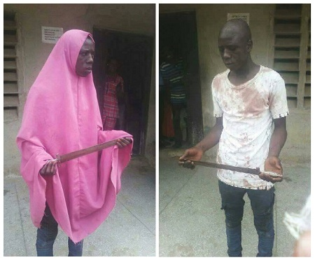 Male ARMED ROBBER in Hijab NABBED