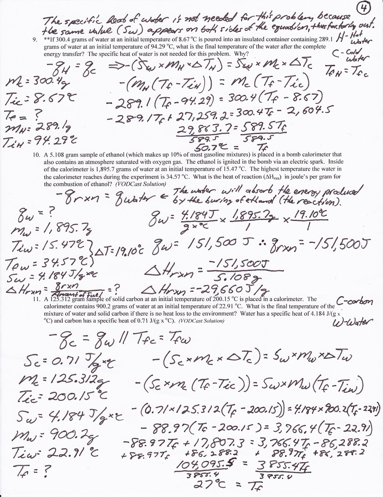 Printables Calorimetry Worksheet liver and onions are super v calorimetry worksheet solutions on 8 the change in temperature for aluminum is reported as 375oc it should be that correction made below