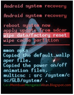 panduan factory reset saat lupa pola android